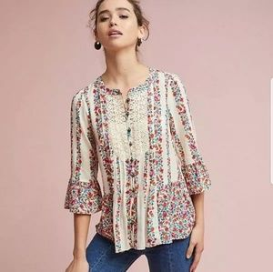 MaEve Hiver Anthropologie Floral Blouse